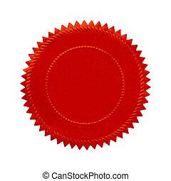 redondo, vermelho, selo