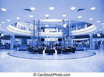 redondo, vestíbulo, en, centro comercial