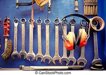 redskaberne, ind, automobil, reparation, shop