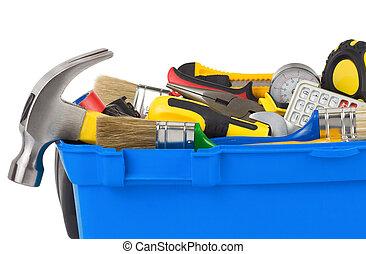 redskaberne, ind, konstruktion, toolbox, isoleret, på hvide
