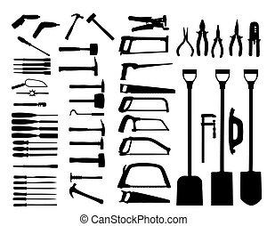 redskaberne, sæt, skovl, magt, hammer., vektor, bor, icon.
