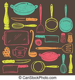 redskap, matlagning, seamless