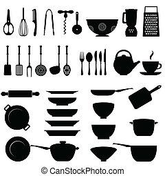 redskap, sätta, kök, ikon
