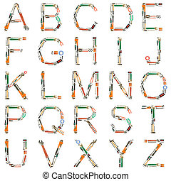 redskapen, alfabet