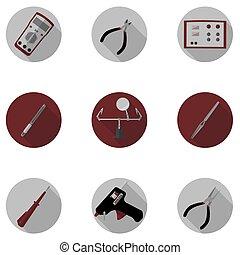 redskapen, för, reparera, av, elektronik