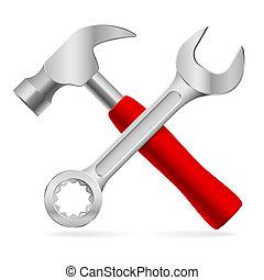 redskapen, för, reparera