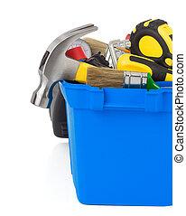 redskapen, in, konstruktion, toolbox, isolerat, vita
