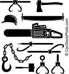 redskapen, skogshuggare, -, pictogram