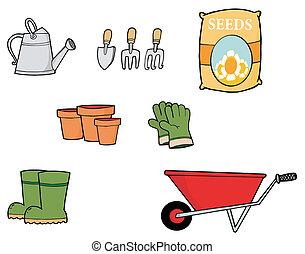 redskapen, trädgårdsarbete, digital, collage