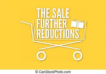 reduções, cartaz, cesta, venda, adicional