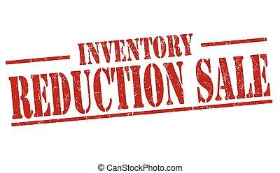 reducción, venta, o, señal, estampilla, inventario