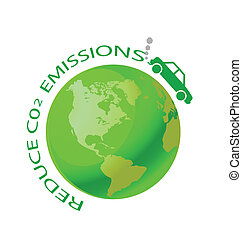 reduce CO2  - Green earth with car reduce CO2 message