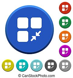 Reduce component round color beveled buttons with smooth surfaces and flat white icons