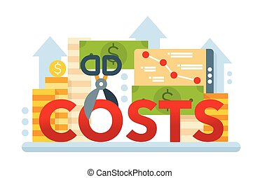 Reduce Costs - flat design website banner - Reduce Costs -...