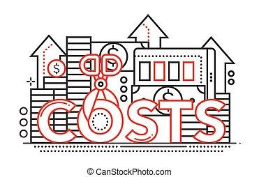Reduce Costs - flat line design website banner - Reduce...