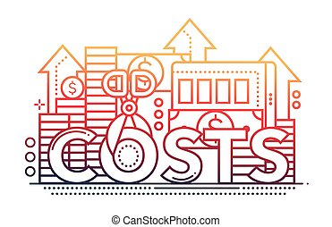 Reduce Costs - flat line design website banner - Reduce...