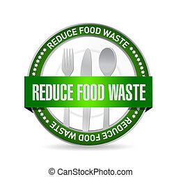 reduce food waste seal sign concept illustration design over...