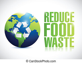 reduce food waste sign illustration design over a white...