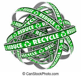 Reduce Reuse Recycle Endless Loop Dispose Trash Materials 3d Illustration