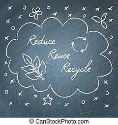 Reduce Reuse Recycle lettering on chalkboard