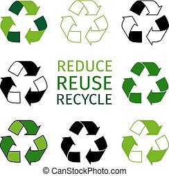 Reduce reuse recycle logotype set. Green arrows recycle eco symbols