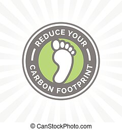 Reduce your carbon footprint icon with green environment foot badge.