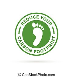 Reduce your carbon footprint icon with green environment footprint badge.
