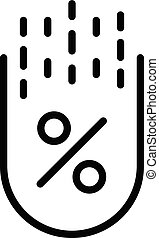 Reduced mortgage percentage icon, outline style
