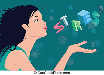 Reducing stress - Profile of a young beautiful woman,...