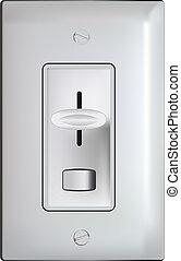 reductor de luz, -realistic, interruptor, eléctrico, ...