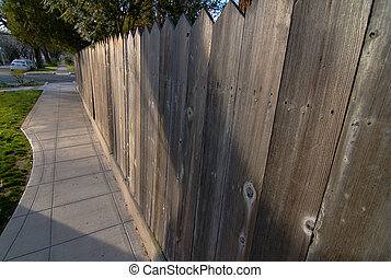 Redwood fence Sidewalk