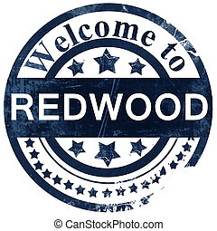 Redwood stamp on white background