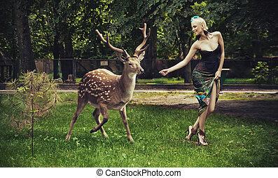 ree lopend, dame, jonge, blonde