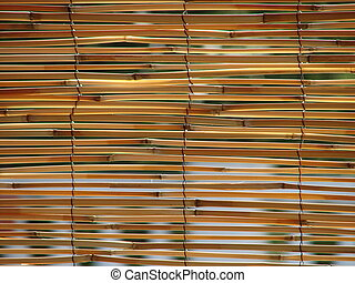 Reed blinds - view trough reed blinds close up