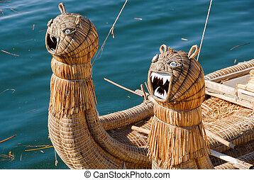 Reed boat around Lake Titicaca, Peru