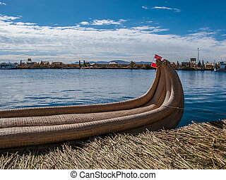 Reed boat in Uros island in Lake Titicaca