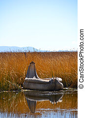 Reed boat on Lake Titicaca in Reed