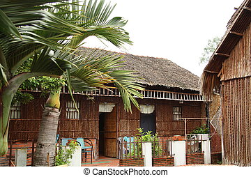 Reed bungalow for tourists, Vietnam