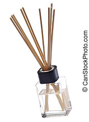 Reed Diffuser to Make a Room Smell Nice. Isolated on White with a Clipping Path.