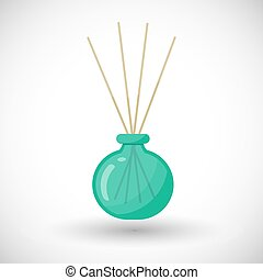 Reed diffuser with essential oils vector flat icon, Flat...