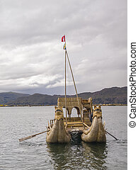 Reeds boat in Titicaca lake.