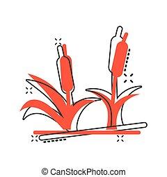Reeds grass icon in comic style. Bulrush swamp vector cartoon illustration pictogram splash effect.
