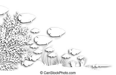 Reef cutouts - Illustration of cutout fish and coral...