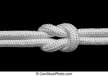 reef knot - reef or square knot for join two ropes, isolated...