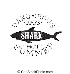 Reef Shark Summer Surf Club Black And White Stamp With Dangerous Animal Silhouette Template