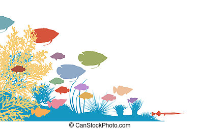 Reef - Vector illustration of colorful fish and coral...