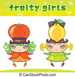 reeks, 2 meisjes, fruitig