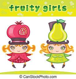 reeks, 3 meisjes, fruitig