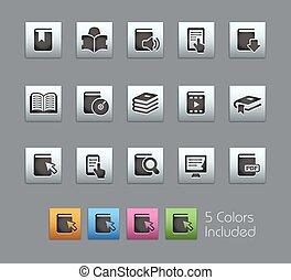 //, reeks, boek, satinbox, iconen