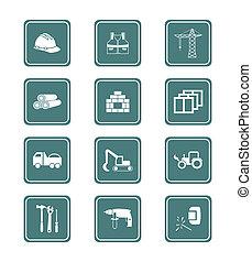 reeks, bouwsector, |, wintertaling, iconen